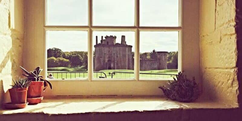 View from window at Caerlaverock Castle Tearoom and Shop