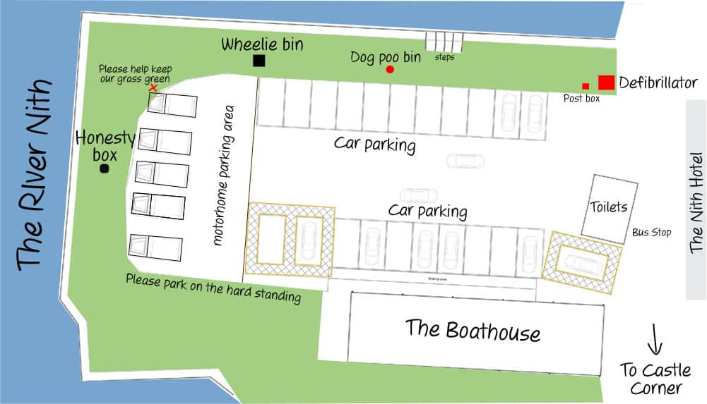 Plan of Glencaple Quay - suggested parking for motorhomes